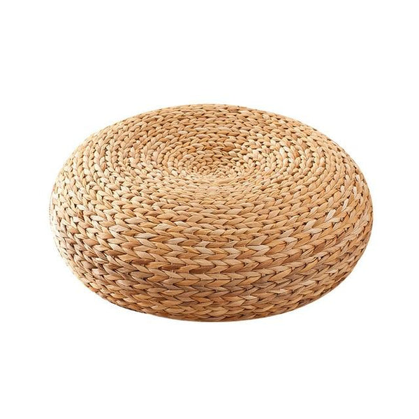 Japanese-style Round Woven Straw Meditation Cushion - Einhorn Homewares