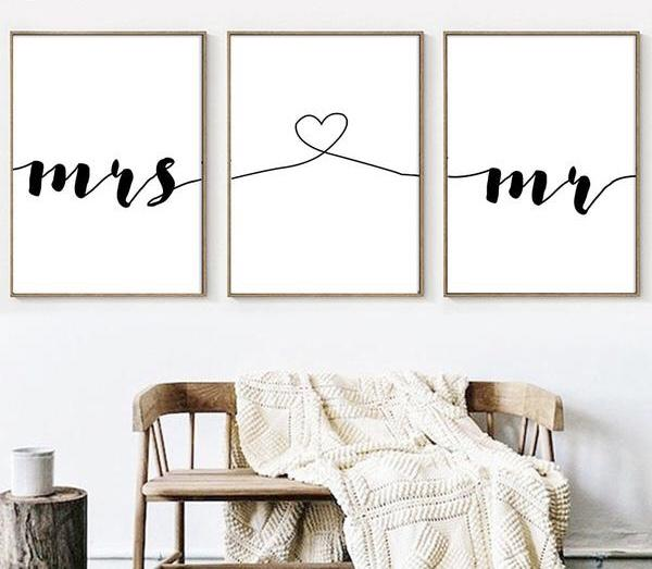 Mr & Mrs Canvas Wall Print Set - Einhorn Homewares