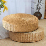Natural Round Woven Straw Pouffe - Einhorn Homewares