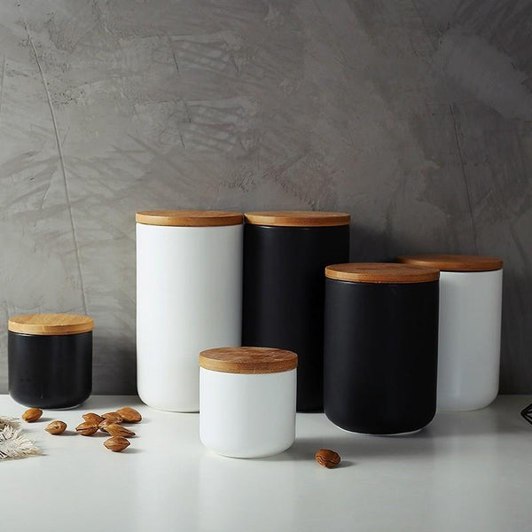 Nordic Style Ceramic Canister with Airtight Wooden Lids - Einhorn Homewares