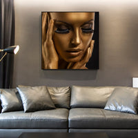 African Woman Gold and Black Wall Print on Canvas - Einhorn Homewares