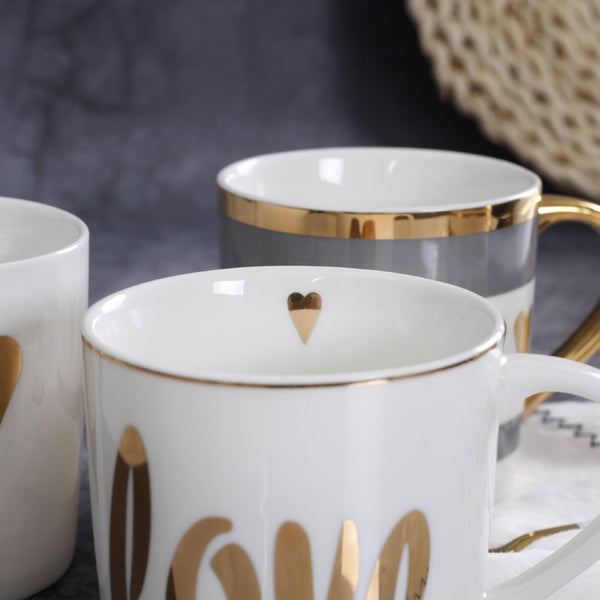 Gold Trimmed Ceramic Coffee Mugs - Einhorn Homewares