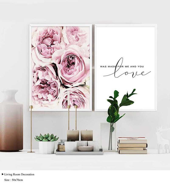 Scandinavian Style Pink Flower Canvas Wall Prints - Einhorn Homewares