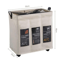 Three Grid Collapsible Laundry Hamper with Wheels - Einhorn Homewares