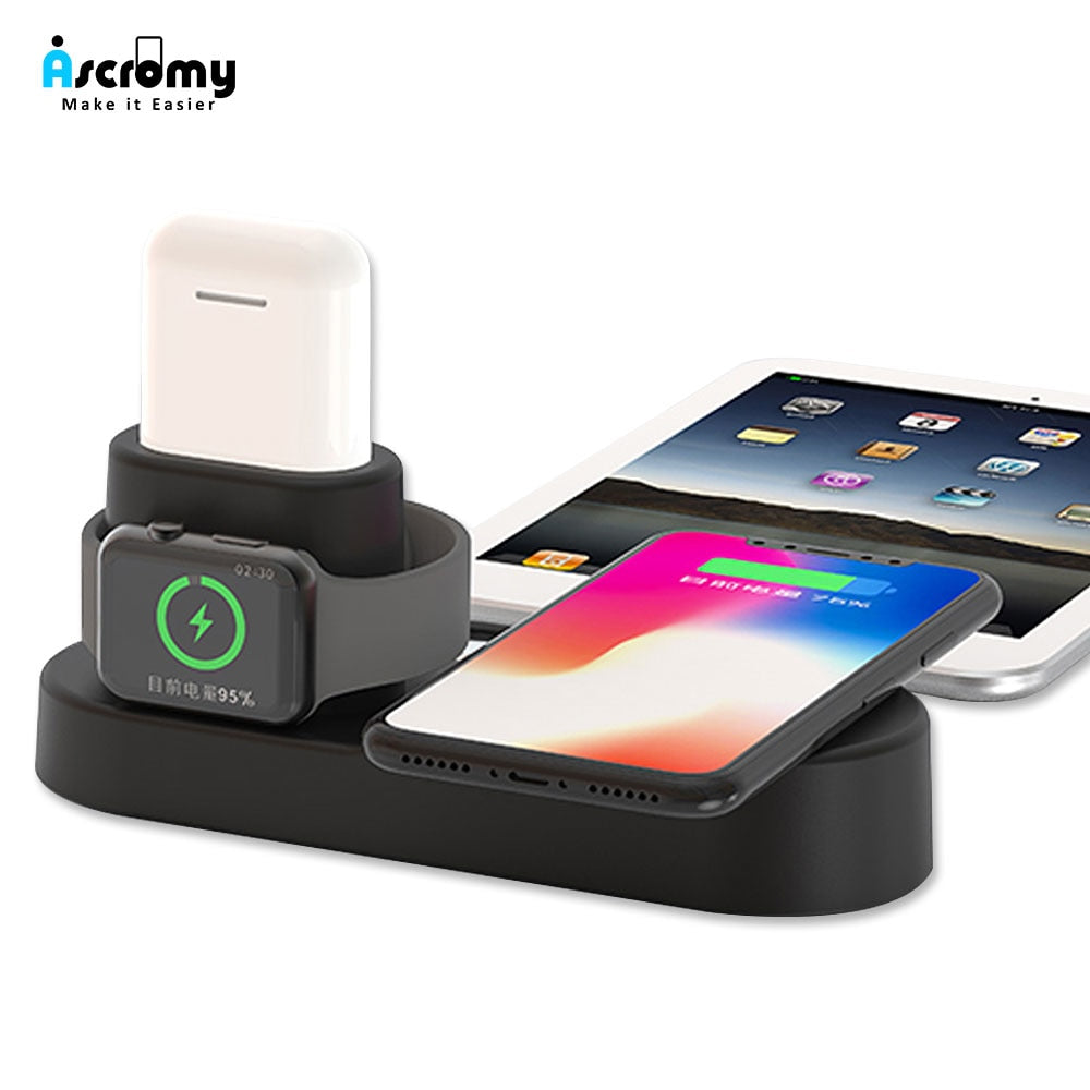 cheap for discount b38a9 27cf0 Ascromy Fast Wireless Charger Pad Dock Station For iPhone XS Max XR X 8  Plus 10 Apple Watch 3 2 Induction Charging Stand AirPods