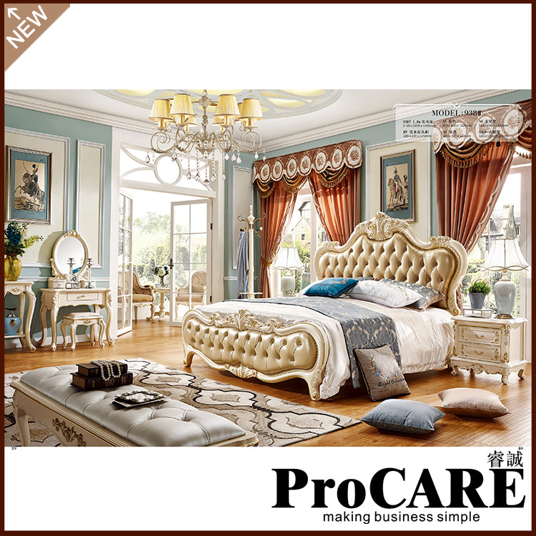 New Model Bedroom Furniture Antique Luxury Royal Leather Headboard