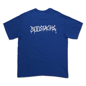Boostache Tagged Schrift auf dem oberen Rücken. Blau RGB Collection. T-shirt