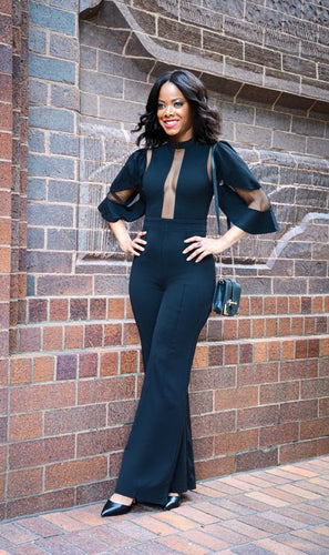 BLACK & SHEER PANEL | JUMPSUIT - N LONGO