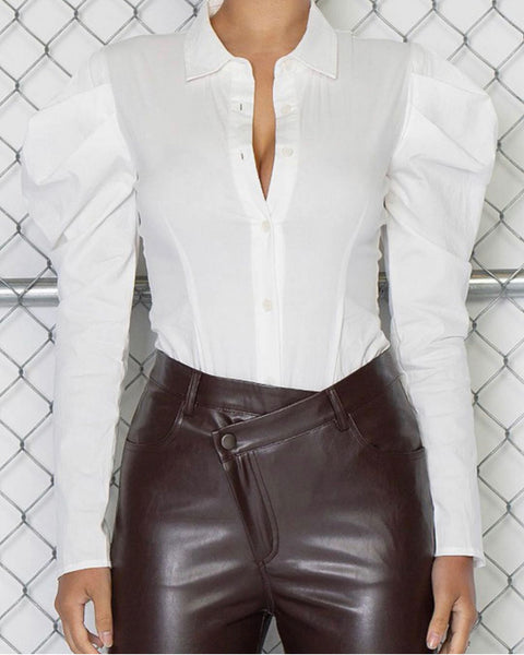 WHITE PUFF SLEEVE BODYSUIT | TOP