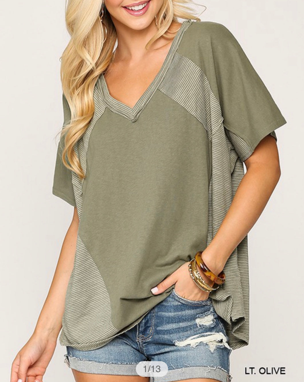 OLIVE MIX KNIT | TOP