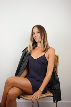 LEO MINI SLIP DRESS - INDIGO