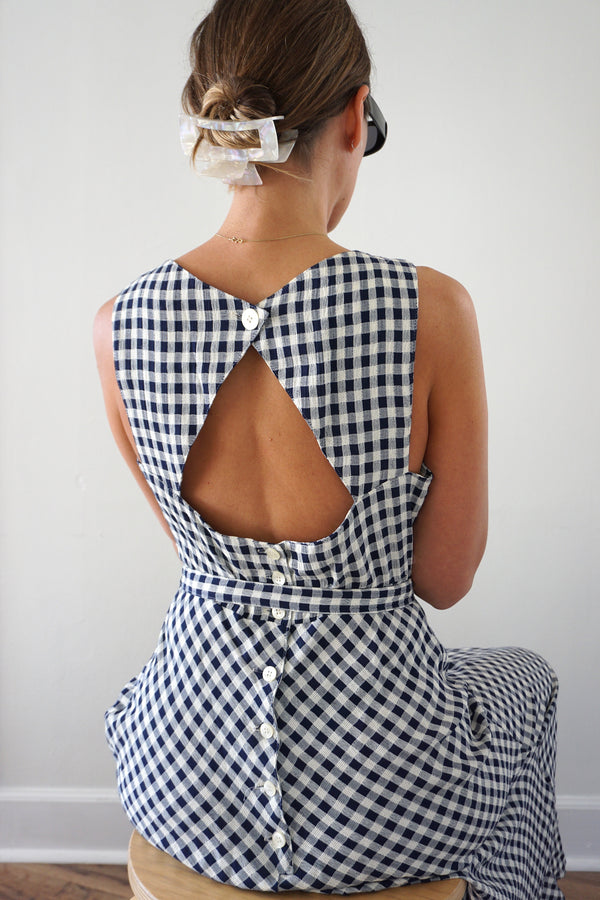 GINGHAM CUT OUT MAXI DRESS