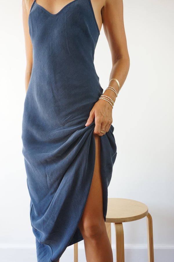 LEO SLIP DRESS - INDIGO