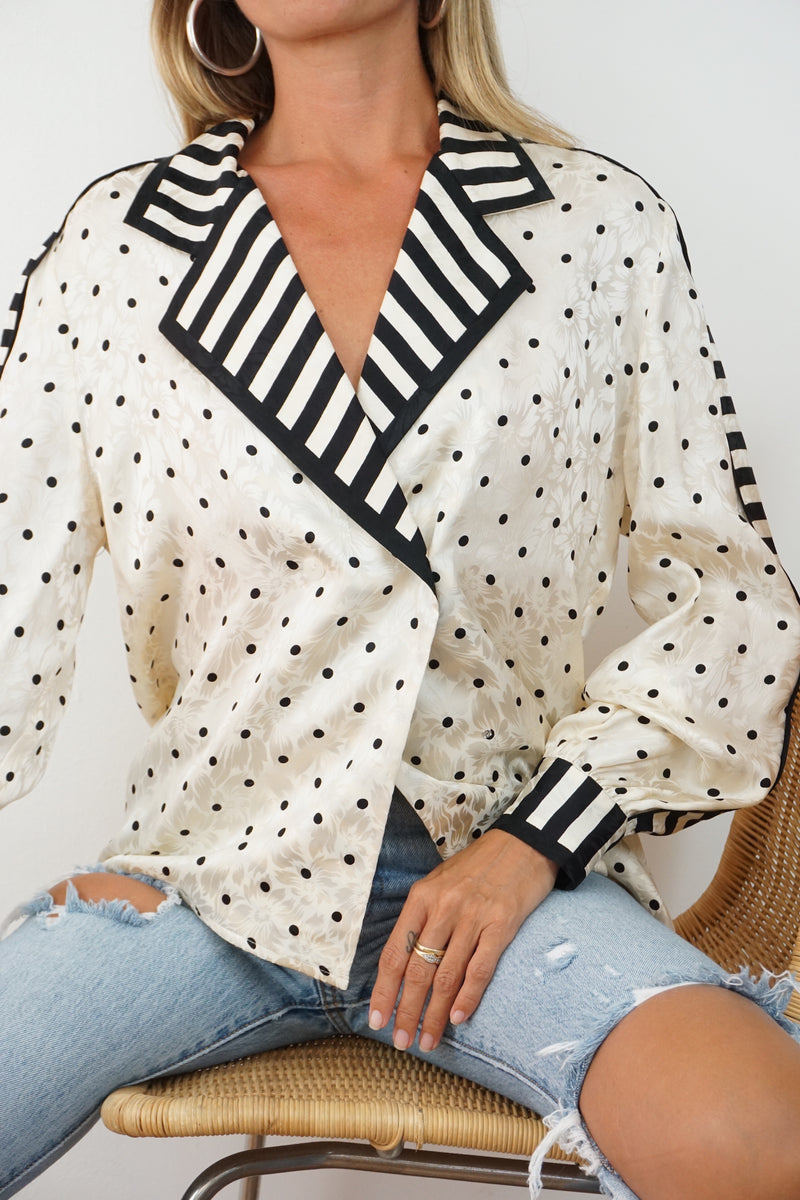 silk dot blouse