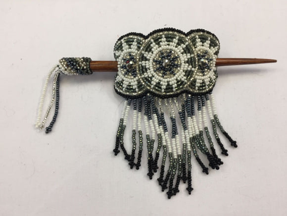 Beaded Barrette - Grey White with Fringe