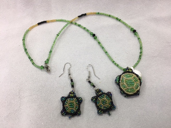 Beaded Necklace and Earrings - Green Turtle