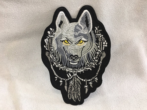 Patch - Wolf Head w Feathers
