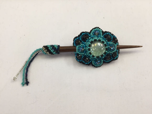 Beaded Barrette - Royal Blue Turquoise