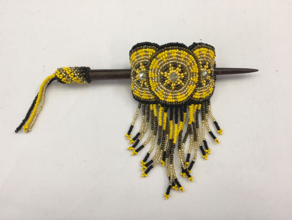 Beaded Barrette - Yellow Black with Fringe