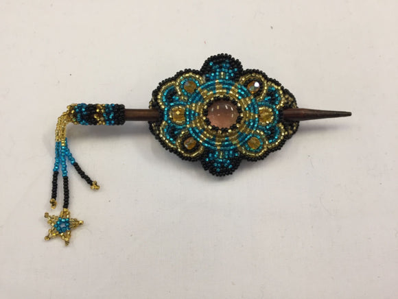 Beaded Barrette - Blue Gold Pink