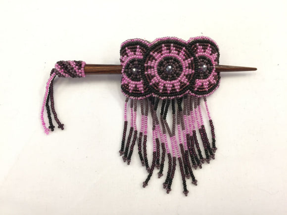 Beaded Barrette - Pink Purple with Fringe