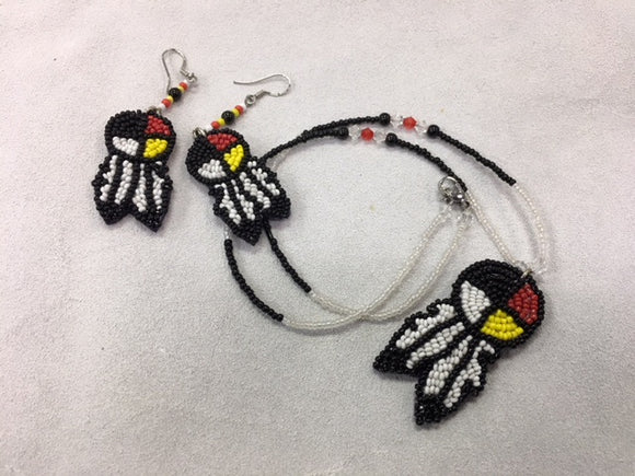 Beaded Necklace and Earrings - Medicine Wheel