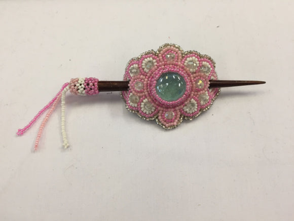Beaded Barrette - Pink White