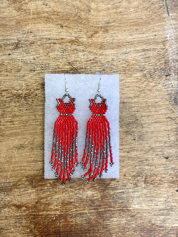 Beaded Earrings - ByKaren - Red Dress - Item 16524
