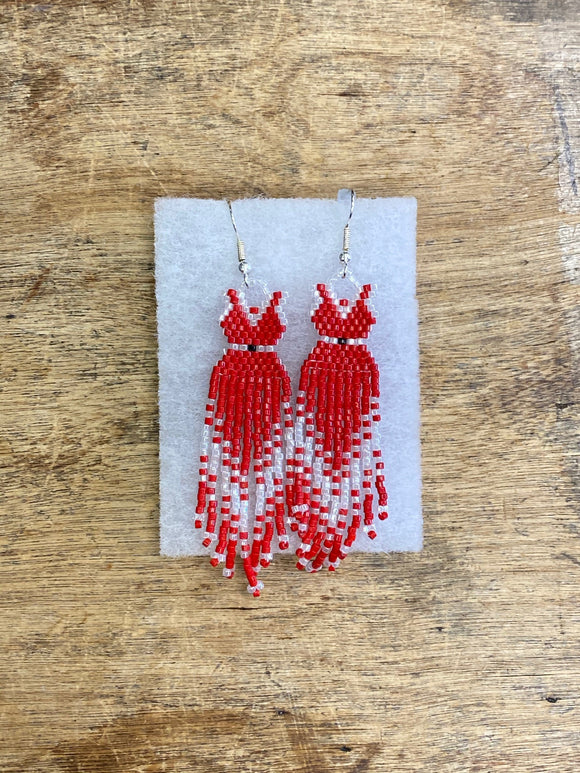 Beaded Earrings - ByKaren - Red Dress - Item 16525