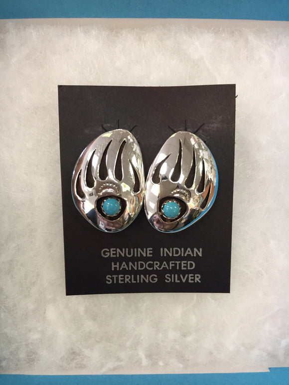 Sterling Silver Earrings - Bear Claw Turquoise