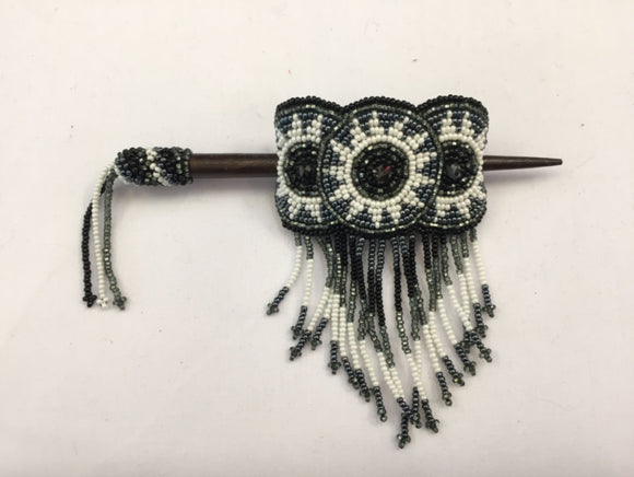 Beaded Barrette - White Black with Fringe