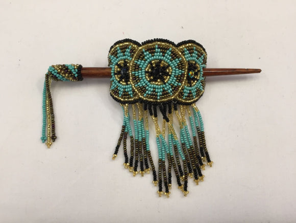 Beaded Barrette - Turquoise Gold Black with Fringe
