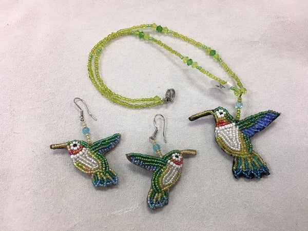 Beaded Necklace and Earrings - Humming Bird