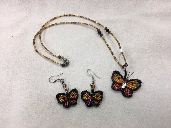 Beaded Necklace and Earrings - Butterfly