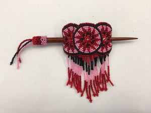 Beaded Barrette - Red Pink with Fringe