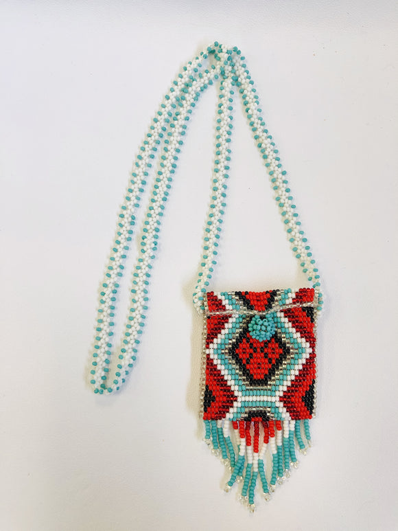 Beaded Medicine Pouch with necklace