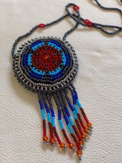 Round Beaded Medicine Pouch with necklace