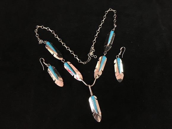 Sterling Silver Set - Turquoise Feathers