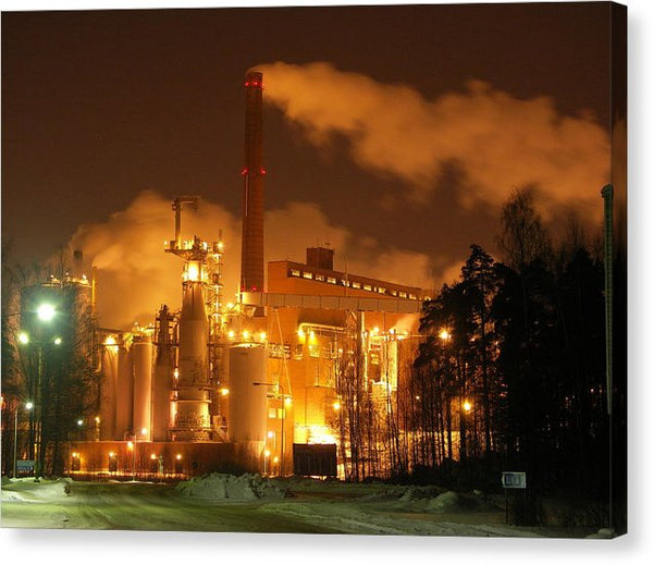 Sunila Pulp Mill at Night - Canvas Print