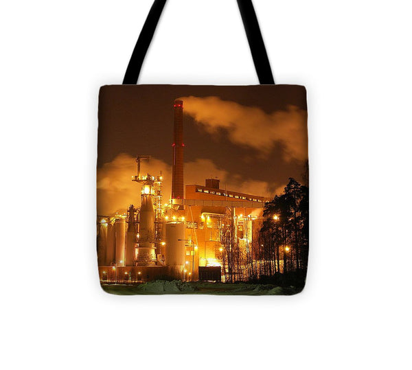 Sunila Pulp Mill at Night - Tote Bag
