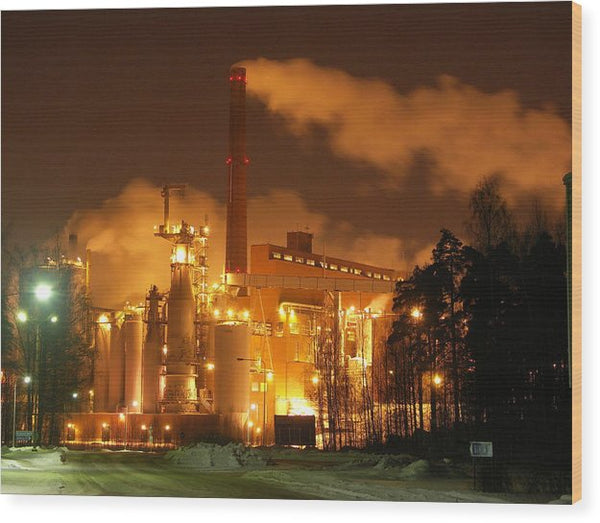 Sunila Pulp Mill at Night - Wood Print