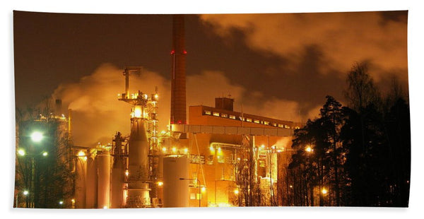 Sunila Pulp Mill at Night - Bath Towel