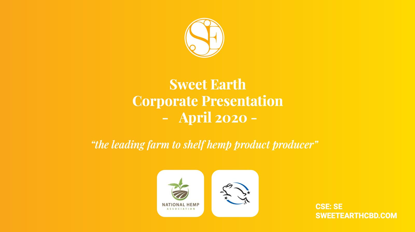 Sweet Earth CBD Corporate Presentation