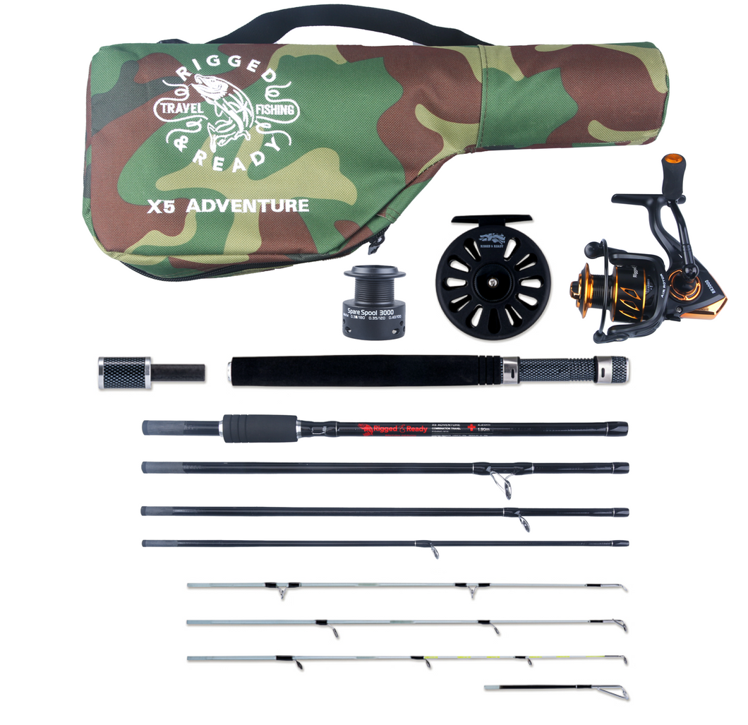 X5 Rod 2 Reels & Case. 5 Rod Options-1 Fishing Set