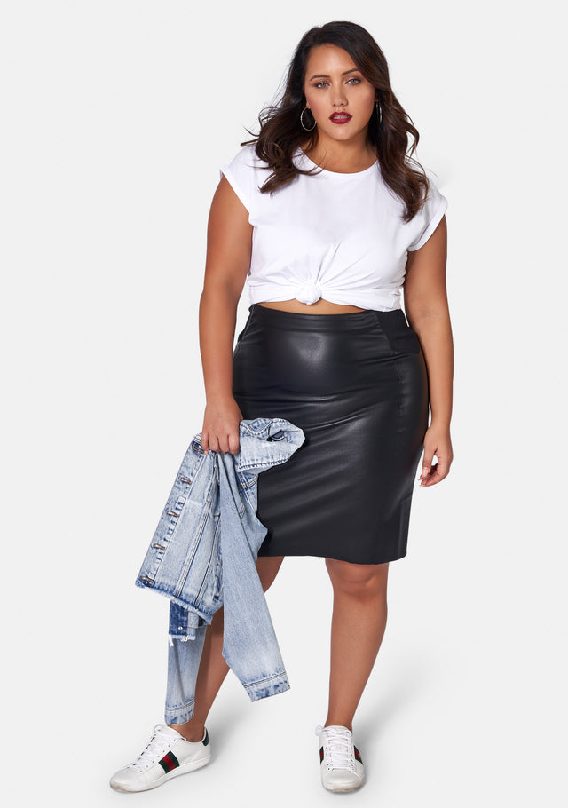 Feel The Love Pu Midi Skirt