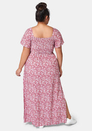 Ivy Shirred Print Maxi Dress