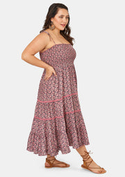Festival Shirred Print Dress