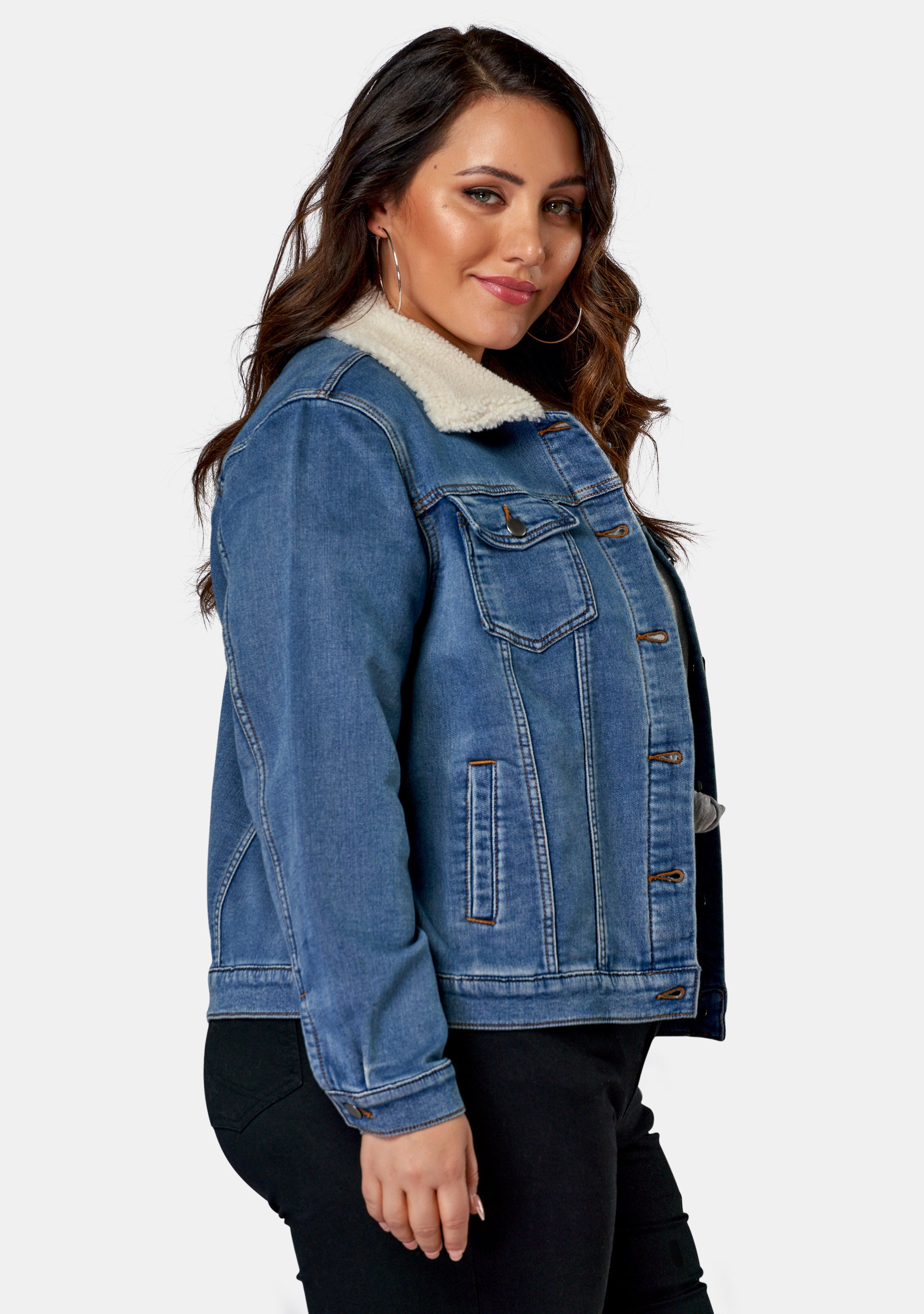 Beau Shearling Knit Denim Jacket