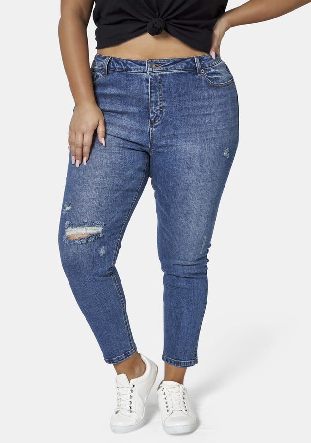 Alison Curve Distressed Skinny Ankle Jean
