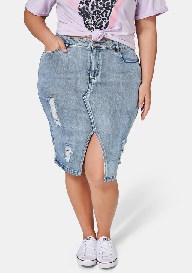 Funkdafied Distressed Denim Skirt